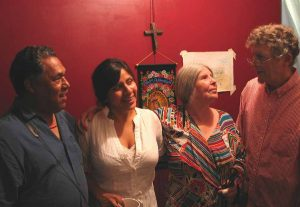 Daniel Valdez, Melinna Bobadilla, Frances and Tim backstage at El Teatro Campesino, 2009