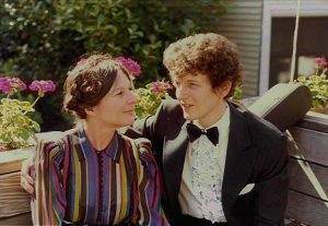Frances and Tim dressed to play a wedding, 1983