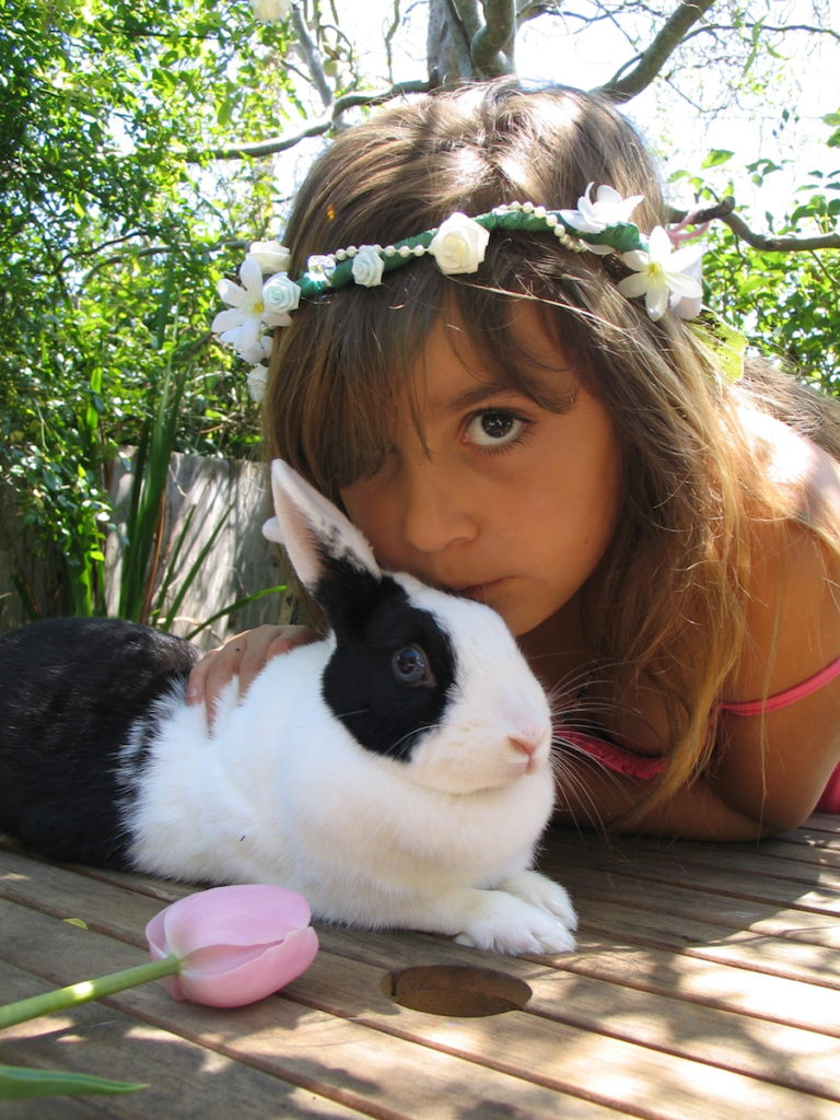 Bella Rose Perry with rabbit