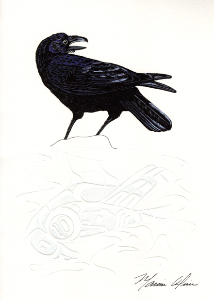 Black bird looking over its shoulder. Painting by native artist, Marvin Oliver.